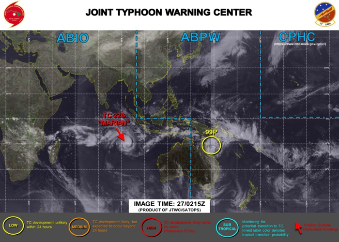 27/03UTC. JTWC IS ISSUING 12HOURLY WARNINGS AND 3 HOURLY SATELLITE BULLETINS ON TC 22S(MARIAN). INVEST 99P IS NOW ON THE MAP AND IS LOW FOR THE NEXT 24HOURS.