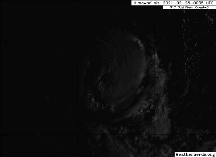 22S(MARIAN). 28/0305UTC. HIGH RESOLUTION VISIBLE ANIMATION.ANIMATED ENHANCED INFRARED SATELLITE IMAGERY DEPICTS A CONSOLIDATING SYSTEM WITH A 35KM RAGGED EYE, WHICH SUPPORTS THE INITIAL POSITION WITH GOOD  CONFIDENCE. IF NEEDED CLICK TO ANIMATE.