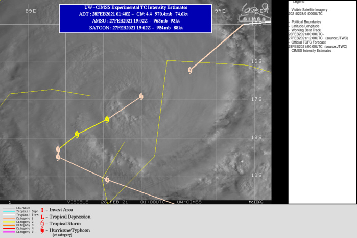 22S(MARIAN). WARNING 5 ISSUED AT 28/03UTC. OVERALL, THE SYSTEM HAS INTENSIFIED WITH DVORAK ESTIMATES RANGING FROM T4.5 (77  KNOTS) TO T5.0 (90 KNOTS). DUE TO THE RAGGED NATURE OF THE EYE, THE  INITIAL INTENSITY IS BASED ON THE LOWER DVORAK ESTIMATE OF T4.5 AND  A 280010Z ADT ESTIMATE OF 4.4 (75 KNOTS). TC 22S IS FORECAST TO  CONTINUE TRACKING SOUTHWESTWARD ALONG THE NORTHWEST PERIPHERY OF A  DEEP-LAYERED SUBTROPICAL RIDGE (STR) POSITIONED TO THE SOUTHEAST AND  SOUTH THROUGH 36H. AFTER 36H, A DEEP MIDLATITUDE TROUGH WILL  APPROACH AND WEAKEN THE STR, WHICH WILL RESULT IN A SLOW OR QUASI- STATIONARY TRACK MOTION THROUGH 48H. AFTER 48H, THE  MIDLATITUDE TROUGH WILL COMPLETELY ERODE THE STR AND THE SYSTEM WILL  BEGIN TO ACCELERATE EAST-SOUTHEASTWARD WITHIN THE STEERING FLOW  BETWEEN THE AFOREMENTIONED TROUGH AND THE NEAR EQUATORIAL RIDGE TO  THE NORTH. TC MARIAN SHOULD INTENSIFY SLIGHTLY UNDER FAVORABLE  CONDITIONS OVER THE NEXT 12-24 HOURS TO A PEAK INTENSITY OF 85 KNOTS/US CATEGORY 2  THEN WEAKEN STEADILY THROUGH THE REMAINDER OF THE FORECAST DUE TO  COOLER SST (26-25C) VALUES, INCREASING VERTICAL WIND SHEAR AND  CONVERGENCE ALOFT.