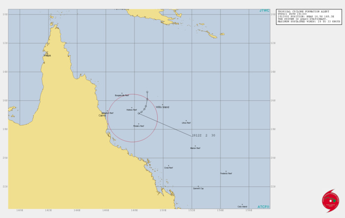 INVEST 99P. TCFA. FORMATION OF A SIGNIFICANT TROPICAL CYCLONE IS POSSIBLE WITHIN A 100 NM RADIUS OF 17.2S 147.9E WITHIN THE NEXT 12 TO 24 HOURS. AVAILABLE DATA DOES NOT JUSTIFY ISSUANCE OF NUMBERED TROPICAL CYCLONE WARNINGS AT THIS TIME. WINDS IN THE AREA ARE ESTIMATED TO BE 28 TO 33 KNOTS. METSAT IMAGERY AT 280600Z INDICATES THAT A CIRCULATION CENTER IS LOCATED NEAR 17.1S 148.2E. THE SYSTEM IS QUASI-STATIONARY AT 02 KNOTS.THE AREA OF CONVECTION (INVEST 99P) PREVIOUSLY LOCATED  NEAR 16.9S 148.5E IS NOW LOCATED NEAR 17.1S 148.2E, APPROXIMATELY  140 NM EAST OF CAIRNS, AUSTRALIA. ANIMATED MULTISPECTRAL SATELLITE  IMAGERY, A COMPOSITE RADAR LOOP FROM WILLIS ISLAND, AND A 280702Z  SSMIS 91 GHZ MICROWAVE PASS REVEAL DISORGANIZED BANDING WRAPPING  INTO A LOW LEVEL CIRCULATION CENTER (LLCC) WITH FLARING CONVECTION  IN THE SOUTHERN PERIPHERY. A 281011Z ASCAT-A IMAGE DEPICTS A WELL  DEFINED LLCC WITH 30-35KT WINDS IN THE SOUTHWEST QUADRANT.  ENVIRONMENTAL ANALYSIS DEPICTS A FAVORABLE ENVIRONMENT WITH ROBUST  POLEWARD UPPER LEVEL OUTFLOW, LOW TO MODERATE (15-20KTS) VERTICAL  WIND SHEAR, AND WARM (29-30C) SEA SURFACE TEMPERATURES.