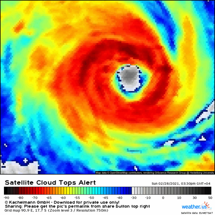 22S(MARIAN). 28/14UTC. ANIMATED ENHANCED INFRARED SATELLITE IMAGERY INDICATES TC 22S(MARIAN) HAS UNDERGONE RAPID  INTENSIFICATION OVER THE PAST SIX HOURS WITH THE EYE CLEARING OUT  AND ENLARGING TO 55 KM. CONVECTION HAS WARMED BUT IS SHOWING SIGNS OF COOLING ONCE MORE. IF NEEDED CLICK ON THE IMAGE TO ANIMATE IT.