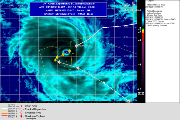 22S(MARIAN). WARNING 6 ISSUED AT 28/15UTC.THE SYSTEM LIES IN A COMPLEX STEERING PATTERN BETWEEN A NEAR EQUATORIAL  RIDGE (NER) TO THE NORTHEAST AND A SUBTROPICAL RIDGE (STR) TO THE  SOUTHWEST. THE CYCLONE IS CURRENTLY EXHIBITING TROCHOIDAL MOTION  ABOUT THE OVERALL AVERAGE MOTION VECTOR TOWARDS THE SOUTHWEST. OVER  THE NEXT 24 HOURS, THE SYSTEM IS EXPECTED TO SLOW AND BECOME QUASI- STATIONARY AS THE STR TO THE SOUTH BUILDS, BLOCKING FURTHER  SOUTHWARD MOVEMENT. BETWEEN 24H AND 48H, THE CYCLONE IS EXPECTED TO  SLOWLY TURN TOWARDS THE SOUTHEAST AS THE STR RAPIDLY TRANSITS  EASTWARD AND WEAKENS, ALLOWING FOR THE NER TO THE NORTH TO RESUME  THE DOMINATE STEERING ROLE. AFTER 48H, THE SYSTEM WILL ACCELERATE  SOUTHEASTWARD ALONG THE SOUTHWEST PERIPHERY OF THE DEEP NER TO THE  NORTH, AND AHEAD OF A MAJOR SHORTWAVE TROUGH APPROACHING FROM THE  WEST. TC 22S HAS LIKELY REACHED ITS PEAK INTENSITY AND IS EXPECTED  TO MAINTAIN THE CURRENT INTENSITY THROUGH 12H. AFTER THIS POINT  THE SYSTEM WILL BEGIN TO SLOWLY BUT STEADILY WEAKEN AS IT ENCOUNTERS  COOLERS SSTS AND DECREASED OUTFLOW AS IT BECOMES ISOLATED FROM ANY  DISTINCT OUTFLOW CHANNELS.