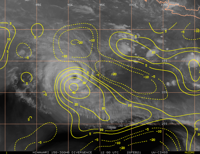 22S(MARIAN). STRONG POLEWARD AND WEAK EQUATORWARD OUTFLOW.