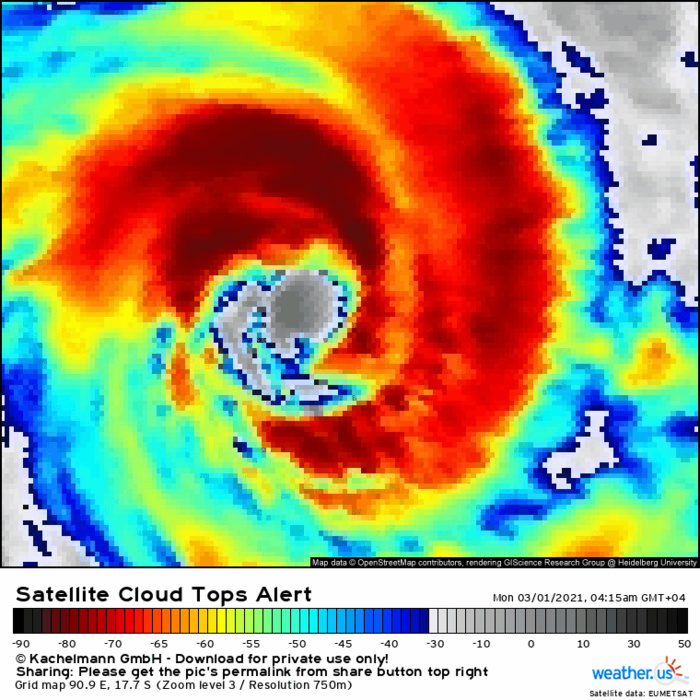22S(MARIAN). 01/0245UTC. DUE TO THE EYEWALL REPLACEMENT CYCLE, ANIMATED ENHANCED INFRARED  SATELLITE IMAGERY INDICATES WEAKENING CONVECTIVE STRUCTURE WITH  WARMING CLOUD TOPS. HOWEVER, THE SYSTEM STILL RETAINS A 55KM ROUND  EYE, WHICH SUPPORTS THE INITIAL POSITION WITH HIGH CONFIDENCE. IF NEEDED CLICK ON THE IMAGERY TO ANIMATE IT.