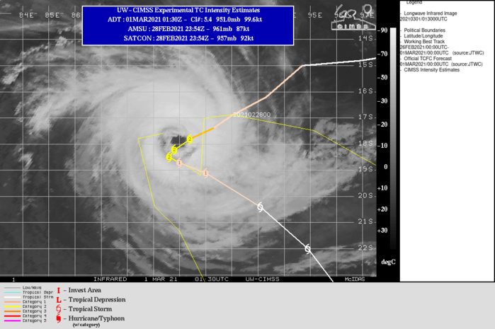 22S(MARIAN). WARNING 7 ISSUED AT 01/03UTC.  TC 22S HAS SLOWED AND IS FORECAST TO CONTINUE TRACKING SLOWLY SOUTHWESTWARD  ALONG THE NORTHWEST PERIPHERY OF A DEEP-LAYERED SUBTROPICAL RIDGE  (STR) POSITIONED TO THE SOUTHEAST THROUGH 12H. AFTER 12H, A  DEEP MIDLATITUDE TROUGH TO THE SOUTH WILL DEEPEN AND WEAKEN THE STR,  WHICH WILL RESULT IN A SLOW OR QUASI-STATIONARY TRACK MOTION THROUGH  36H. DUE TO THE EYEWALL REPLACEMENT CYCLE(ERC) AND POTENTIAL FOR THE SYSTEM TO UPWELL COOLER  WATER, THERE IS UNCERTAINTY IN THE INTENSITY FORECAST THROUGH 36H. THE CURRENT FORECAST MAINTAINS THE INTENSITY AT 90 KNOTS THROUGH  12H IN THE EVENT THE SYSTEM RE-STRENGTHENS AFTER ERC. AFTER 12H, COOLER SST VALUES AND UPWELLING COOLER WATER SHOULD LEAD TO A  STEADY WEAKENING TREND. AFTER 36H, THE MIDLATITUDE TROUGH WILL  COMPLETELY ERODE THE STR AND THE SYSTEM WILL BEGIN TO ACCELERATE  EAST-SOUTHEASTWARD TO SOUTHEASTWARD WITHIN THE STEERING FLOW BETWEEN  THE AFOREMENTIONED TROUGH AND THE NEAR EQUATORIAL RIDGE TO THE  NORTH. TC MARIAN WILL WEAKEN STEADILY THROUGH THE REMAINDER OF THE  FORECAST DUE TO COOLER SST (26-25C) VALUES, INCREASING VERTICAL WIND  SHEAR AND CONVERGENCE ALOFT.