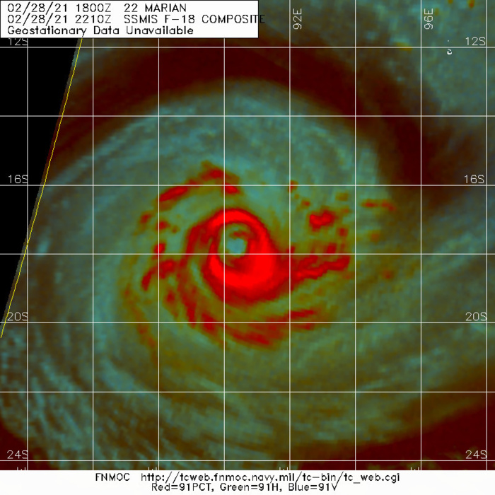 22S(MARIAN). BASED ON PREVIOUS MICROWAVE IMAGERY TO INCLUDE THE 28/0741UTC AMSR2 89GHZ IMAGE AND THE  28/1058UTC SSMIS 91GHZ IMAGE, TC 22S IS UNDERGOING AN EYEWALL  REPLACEMENT CYCLE (ERC). A 28/2210UTC SSMIS 91GHZ MICROWAVE IMAGE  SHOWS THAT THE INNER EYEWALL HAS MOSTLY ERODED WITHIN AN OBLONG  OUTER EYEWALL DOMINATING.