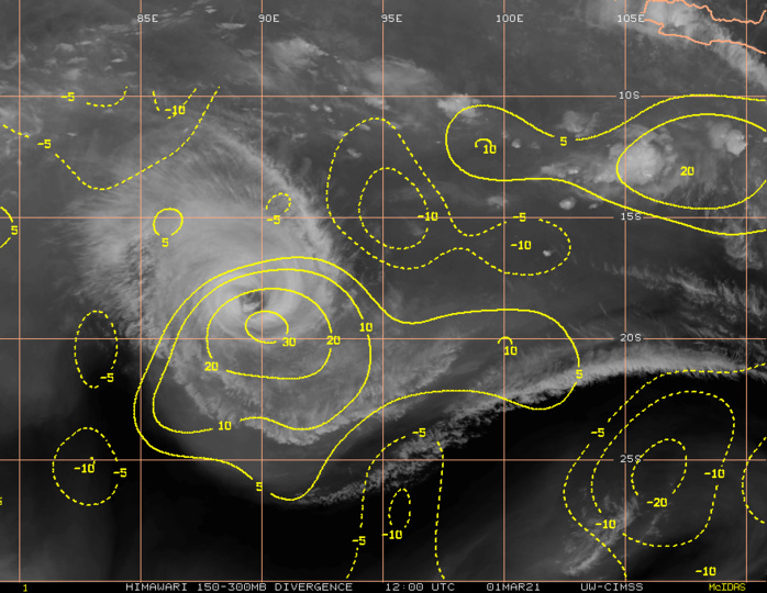 22S(MARIAN). UPPER-LEVEL DIVERGENCE IS MUCH WEAKER AS  THE SYSTEM BECOMES ISOLATED FOR ANY TAP INTO THE DEEP WESTERLIES.