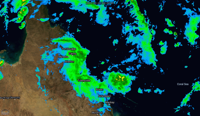 23P. 01/14UTC. ANIMATED ENHANCED INFRARED SATELLITE IMAGERY INDICATES THE SYSTEM REMAINS DISORGANIZED, WITH  FLARING CONVECTION DISPLACED WEST OF THE PARTIALLY EXPOSED LOW LEVEL  CIRCULATION CENTER. SURFACE OBSERVATIONS FROM BOUGAINVILLE REEF AND  ARLINGTON REEF AS WELL AS ANIMATED RADAR DATA FROM CAIRNS PROVIDED  GOOD CLARIFICATION ON THE INITIAL POSITION. CLICK TO ANIMATE THE IMAGE.