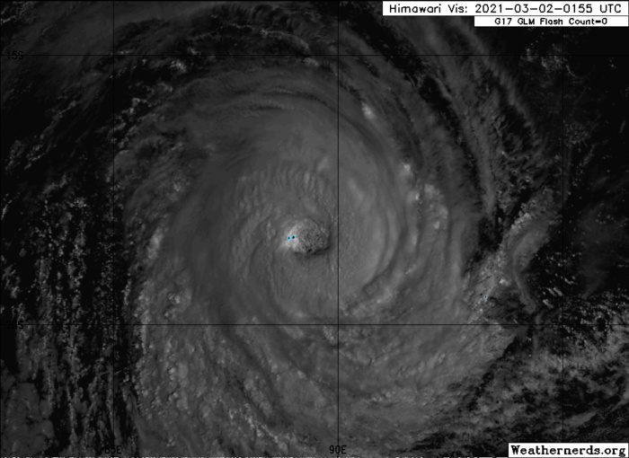 22S(MARIAN). 02/0335UTC.ANIMATED MULTISPECTRAL SATELLITE IMAGERY INDICATES THAT THE CONVECTIVE CLOUD TOPS HAVE COOLED  AND THE EYE IS BECOMING INCREASINGLY MORE RAGGED OVER THE PAST SIX  HOURS AND DECREASED IN SIZE TO 45KM. CLICK TO ANIMATE IF NECESSARY.