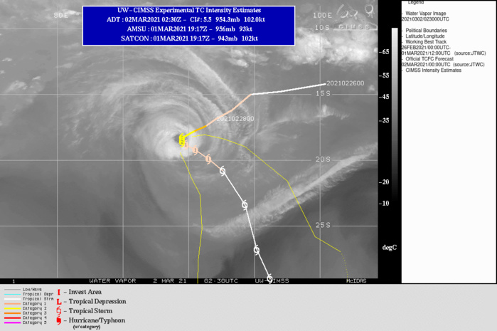 22S(MARIAN). WARNING 9 ISSUED AT 02/03UTC.TC 22S HAS SLOWED SIGNIFICANTLY AND IS BEGINNING TO ROUND THE NEAR-EQUATORIAL RIDGE  (NER) TO THE NORTHEAST AS A TRANSIENT SUBTROPICAL RIDGE (STR) TO THE  SOUTH-SOUTHEAST LIMITS THE POLEWARD MOVEMENT. VERTICAL WIND SHEAR  (VWS) REMAINS LOW (5-10 KTS), WITH WEAKER UPPER LEVEL RADIAL OUTFLOW  LIMITING THE POLEWARD MOVEMENT. THE UPWELLING OF COOLER WATERS, AND  THE DECREASE IN OUTFLOW ARE THE LIMITING FACTORS FOR ANY FURTHER  INTENSIFICATION WITH TC MARIAN. OVER THE NEXT 24 HOURS, THE STR TO  THE SOUTH WILL TRANSIT EASTWARD AND WEAKEN AS A MAJOR SHORTWAVE  TROUGH APPROACHES FROM THE WEST, LEADING TO A TRANSITION OF THE  PRIMARY STEERING MECHANISM TO THE NER TO THE NORTHEAST. TC 22S WILL  ACCELERATE SOUTHEASTWARD WITHIN THE GRADIENT BETWEEN THE NER AND THE  AFOREMENTIONED TROUGH AFTER 12H. AS THE SYSTEM TRANSLATES  SOUTHEASTWARD IT WILL MOVE OVER STEADILY COOLER SEAS AND ENCOUNTER  CONVERGENT FLOW ALOFT, LEADING TO STEADY WEAKENING THROUGH 96H  AND BEYOND. THE SYSTEM IS EXPECTED TO BEGIN TRANSITIONING TO A  SUBTROPICAL LOW AFTER 96H AS IT BEGINS TO MOVE UNDER A MID-LEVEL  LOW AND EXHIBITS WEAK THERMAL ADVECTION.