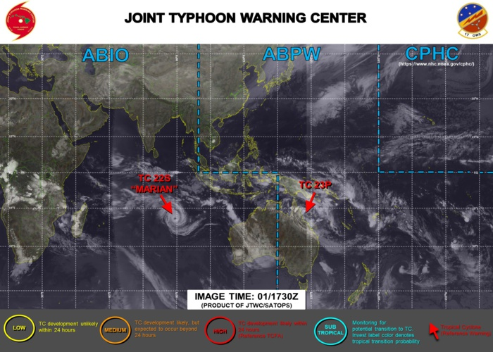 02/03UTC. JTWC IS ISSUING 3HOURLY WARNING ON TC 23P(NIRAN) AND 12HOURLY WARNINGS ON TC 22S(MARIAN). 3 HOURLY SATELLITE BULLETINS ARE ISSUED FOR BOTH SYSTEMS.