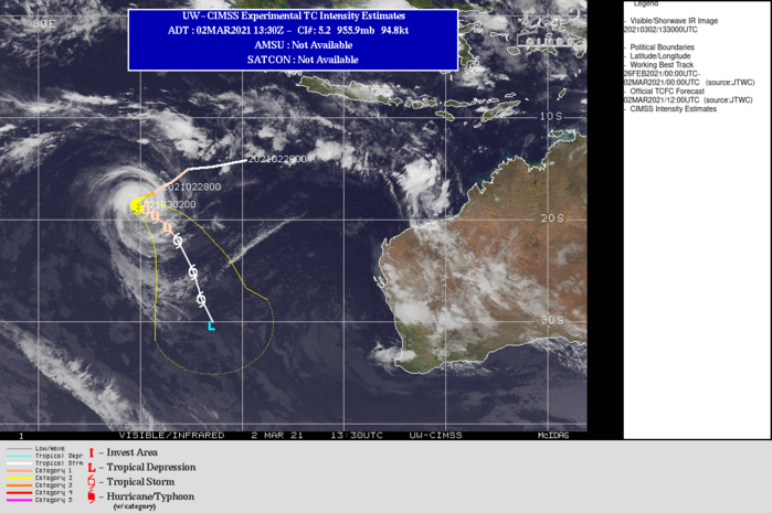22S(MARIAN). WARNING 10 ISSUED AT 02/15UTC.THE SYSTEM IS IN A MARGINAL ENVIRONMENT WITH LOW (10-15KT) VERTICAL WIND SHEAR  AND GOOD RADIAL OUTFLOW THAT ARE OFFSET BY SUBSIDENCE ALONG THE  SOUTHWEST QUADRANT CAUSED BY THE MID-LATITUDE TROUGH TO THE  SOUTHWEST AND TEPID (26C) SEA SURFACE TEMPERATURE (SST). TC 22S IS  QUASI-STATIONARY AND SLOWLY MOVING OUT OF A COL BETWEEN THE NEAR  EQUATORIAL RIDGE (NER) TO THE NORTH-NORTHEAST AND A SUBTROPICAL  RIDGE (STR) TO THE SOUTH. THE STR TO THE SOUTH IS EXPECTED TO  WEAKEN, ALLOWING FOR A SECONDARY STR BUILDING IN FROM THE EAST TO  ASSUME STEERING AND EVENTUALLY DRIVE THE CYCLONE SOUTH- SOUTHEASTWARD. THE MARGINAL ENVIRONMENT IS EXPECTED TO GET WORSE  WITH INCREASING WIND SHEAR AND COOLING SEAS, LEADING TO GRADUAL WEAKENING  WITH INTENSITY FALLING BELOW 35KNOTS BY 120H.