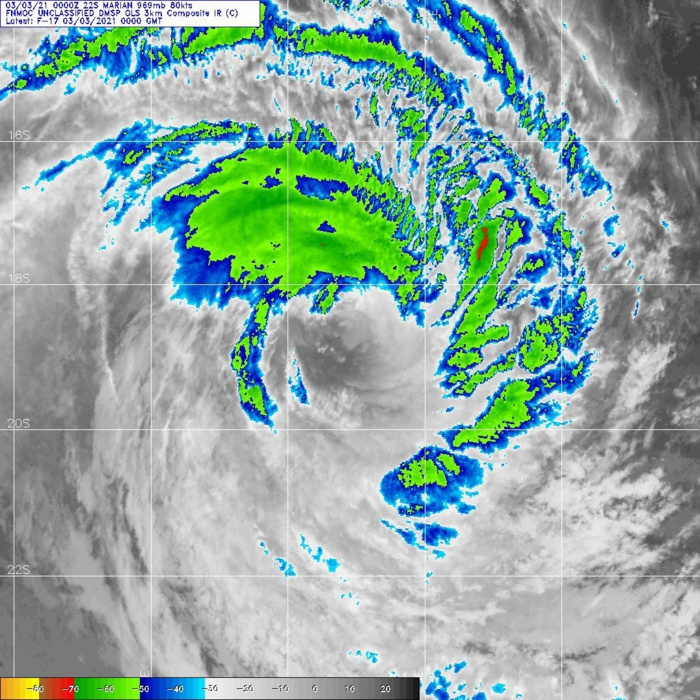 22S(MARIAN). 03/00UTC. DMSP. ANIMATED MULTISPECTRAL SATELLITE IMAGERY AND ENHANCED INFRARED  SATELLITE IMAGERY INDICATE THE SYSTEM IS BEGINNING TO WEAKEN  AS THE MAIN CONVECTIVE CLOUD TOPS ARE WARMING AND THE EYEWALL IS  ERODING AND BECOMING MORE RAGGED.