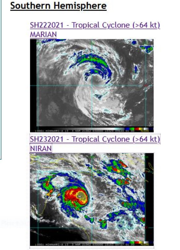 03/0245UTC. TC 23P(NIRAN) AND TC 22S(MARIAN) ARE BOTH ANALYZED AT US/CATEGORY 1 BUT 23P IS INTENSIFYING WHEREAS 22S IS WEAKENING AFTER HAVING BRIEFLY REACHED CATEGORY 3 BY 28/12UTC.