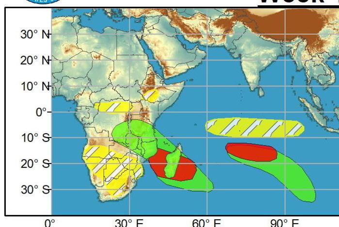 Semaine 1. 2 zones sont suspectées pour une cyclogenèse sur le Sud Indien. Elles apparaissent en rouge comme disposant d'une bonne chance de développement. Une autre est aussi repérée sur le Sud Pacifique au Sud des îles Fidji mais avec un potentiel apparemment mois élevé. NOAA.