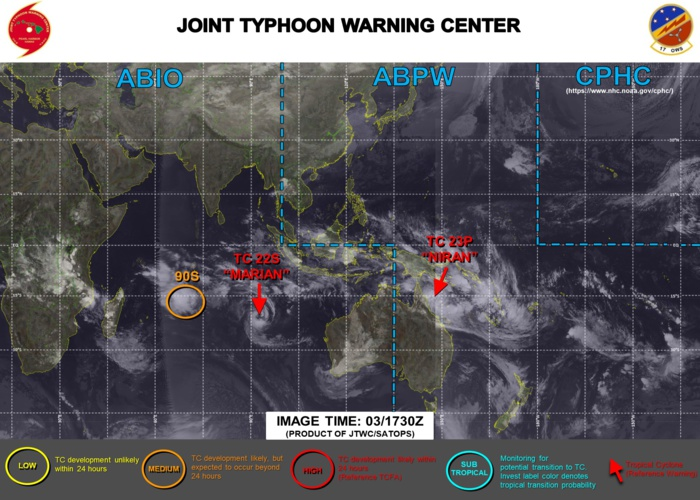 03/18UTC. JTWC HAS BEEN ISSUING 6HOURLY WARNINGS ON 23P(NIRAN) AND 12HOURLY WARNINGS ON 22S(MARIAN). 3 HOURLY SATELLITE BULLETINS ARE ISSUED FOR BOTH SYSTEMS. INVEST 90S IS NOW ON THE MAP WITH CURRENTLY MEDIUM CHANCES OF REACHING 35KNOTS WITHIN 24HOURS. REFER TO THE CHART BELOW.