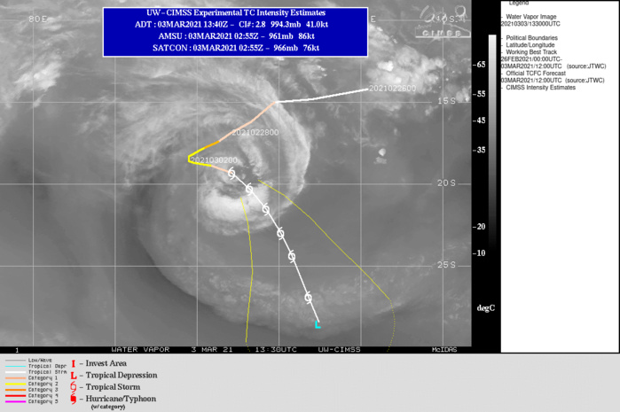 22S(MARIAN). WARNING 12 ISSUED AT 03/15UTC.THE SYSTEM IS IN A DETERIORATING ENVIRONMENT WITH INCREASING VERTICAL WIND SHEAR  (15KTS+) AND COOLING SSTS (25C). TC 22S HAS MOVED OUT OF THE COL  BETWEEN THE NEAR EQUATORIAL RIDGE (NER)TO THE NORTH-NORTHEAST AND A  SUBTROPICAL RIDGE (STR) TO THE SOUTH WHICH HAS WEAKENED AND ALLOWED  A SECONDARY STR TO BUILD IN FROM THE EAST AND ASSUME STEERING. THIS  NEW STR WILL DRIVE THE CYCLONE SOUTH-SOUTHEASTWARD FOR THE WHOLE  DURATION OF THE FORECAST. THE HARSH ENVIRONMENT WILL CONTINUE THE  GRADUAL WEAKENING AND EVENTUALLY THE INTENSITY FALLING BELOW 35KNOTS BY 96H,  POSSIBLY SOONER.