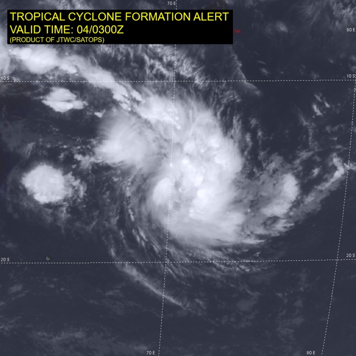 INVEST 90S. ANIMATED ENHANCED INFRARED  SATELLITE IMAGERY AND A 032043Z AMSR2 89 GHZ MICROWAVE IMAGE DEPICT  FORMATIVE BANDING WRAPPING INTO AN CONSOLIDATING LOW LEVEL  CIRCULATION CENTER WITH FLARING CONVECTION IN THE NORTHERN  AND EASTERN SEMICIRCLES.