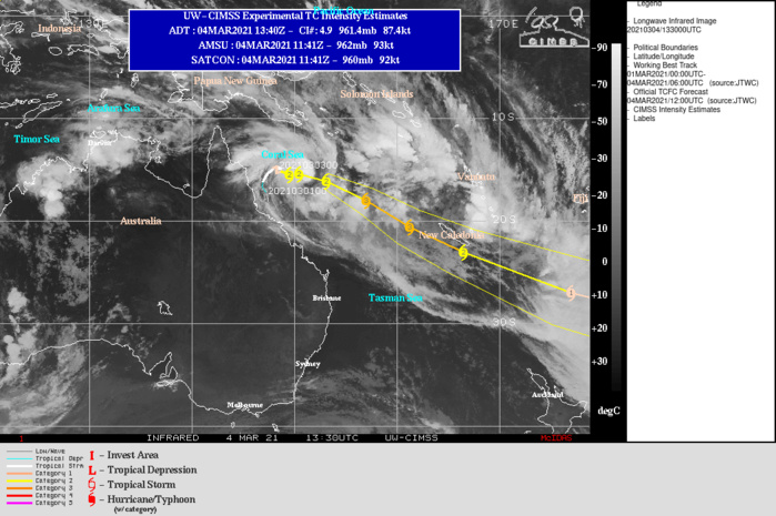 23P(NIRAN). WARNING 15 ISSUED AT 04/15UTC. AS THE RECENT JOG TO THE EAST INDICATES, THE SYSTEM REMAINS IN A RELATIVELY WEAK  STEERING ENVIRONMENT BETWEEN THE SUBTROPICAL RIDGE (STR) TO THE WEST  AND A NEAR EQUATORIAL RIDGE (NER) TO THE EAST. OVER THE NEXT FEW  HOURS HOWEVER, THE NER SHOULD GAIN PREDOMINANCE AS THE PRIMARY  STEERING MECHANISM, RESULTING IN A SOUTHEASTWARD TRACK. ONCE  ESTABLISHED ON THE SOUTHEASTWARD TRACK, TC 23P WILL STEADILY  ACCELERATE AS IT BECOMES EMBEDDED WITHIN THE STRONG GRADIENT BETWEEN  THE BUILDING RIDGE TO THE EAST AND AN APPROACHING MID-LATITUDE MAJOR  SHORTWAVE TROUGH APPROACHING FROM THE WEST. THE SYSTEM IS EXPECTED  TO INTENSIFY TO A PEAK OF 110 KNOTS US/CATEGORY 3 BY 24H AS IT ENTERS A SHORT  PERIOD OF VERY STRONG POLEWARD OUTFLOW AND RELATIVELY LOW WIND SHEAR. THIS  INTENSIFICATION WILL BE SHORT-LIVED AND BY 36H, THE STEADILY  INCREASING WIND SHEAR AND COOLER SEAS WILL CONSPIRE TO WEAKEN THE SYSTEM AS  IT RAPIDLY TRANSLATES TO THE SOUTHEAST. TC 23P IS FORECAST TO BEGIN  SUBTROPICAL TRANSITION BY 48H AND COMPLETE TRANSITION TO A STORM  FORCE SUBTROPICAL LOW BY 72H.