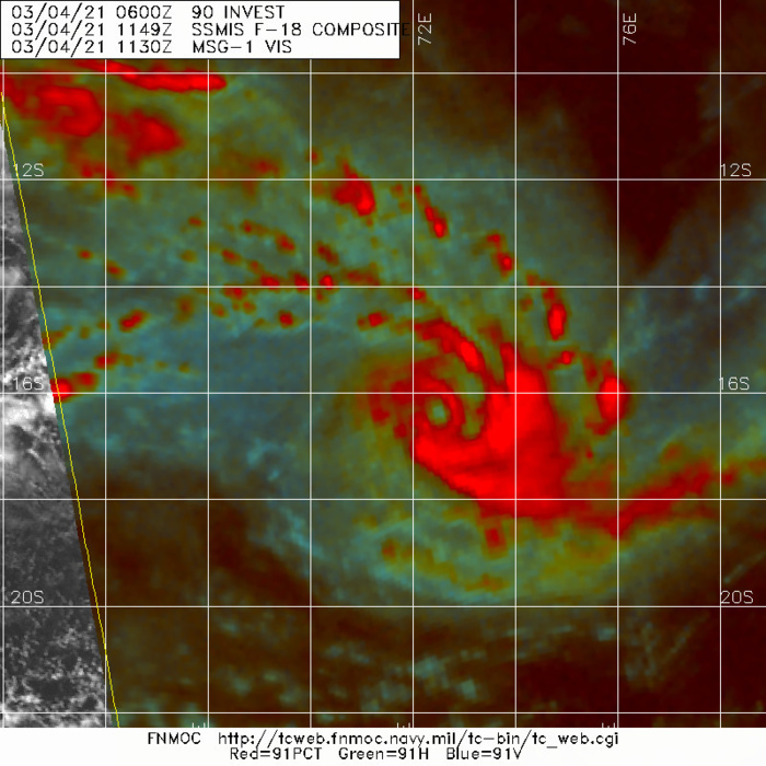 24S(HABANA). ANIMATED MULTISPECTRAL (MSI) AND  ENHANCED INFRARED (EIR) SATELLITE IMAGERY DEPICTS A SIGNIFICANTLY  IMPROVED CONVECTIVE STRUCTURE, WITH WELL DEFINED CONVECTION WRAPPING  INTO A SMALL CORE REGION. A 041147Z SSMIS 89GHZ MICROWAVE IMAGE  DEPICTED A SMALL MICROWAVE EYE FEATURE, WHICH WAS ALSO PRESENT,  THOUGH PRESENTED AS A WEAKER SIGNATURE, IN THE 37GHZ BAND. THE  MICROWAVE IMAGE ALSO DEPICTED THE CONVECTIVE BANDING STRUCTURE WITH  GOOD EFFECT AND OVERALL LENT HIGH CONFIDENCE TO THE INITIAL  POSITION.