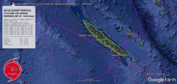 23P(NIRAN). WARNING 19. FORECAST CLOSEST POINT OF APPROACH TO NOUMEA IS 17KM BY 06/06UTC.