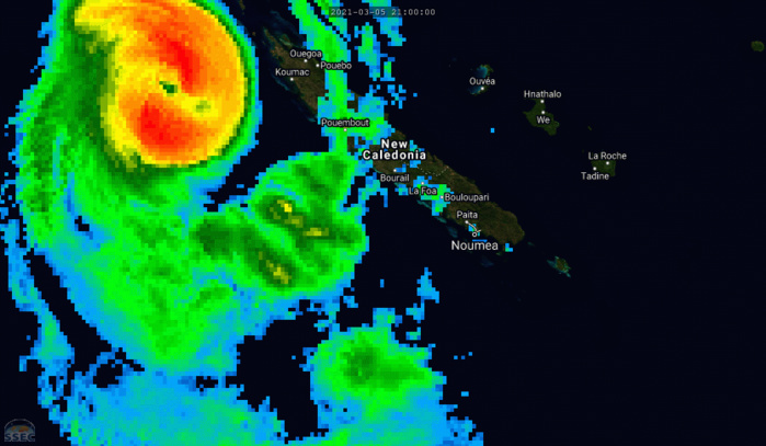 23P(NIRAN). 06/03UTC. WEAKENING SYSTEM. ANIMATED  MULTISPECTRAL SATELLITE IMAGERY (MSI) REVEALS THE EYE HAS FILLED AND CONVECTION IS BECOMING MORE RAGGED AND FRONTAL IN NATURE AS  NIRAN ACCELERATES TO THE SOUTHEAST. IF NEEDED CLICK ON THE IMAGERY TO ANIMATE.