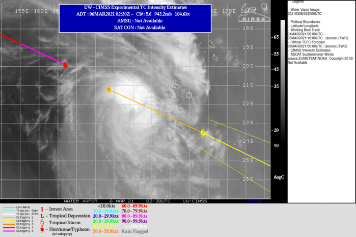 23P(NIRAN). WARNING 21 ISSUED AT 06/03UTC. THE INTENSITY WAS ASSESSED AT 110 KNOTS/US CAT 3, WHICH IS CLOSE TO CIMSS ADT  ESTIMATES AND BELOW AGENCY CURRENT INTENSITY ESTIMATES GIVEN THE  RAPID WEAKENING OBSERVED.ALTHOUGH POLEWARD OUTFLOW REMAINS ROBUST,VERTICAL WIND SHEAR IS NOW 30 KNOTS AND EXPECTED TO INCREASE.  ADDITIONALLY, NIRAN IS TRACKING THROUGH A SHARP GRADIENT OF  DECLINING SEA SURFACE TEMPERATURE VALUES. TC 23P IS TRACKING RAPIDLY  EAST-SOUTHEASTWARD WITHIN THE TIGHT UPPER-LEVEL GRADIENT BETWEEN THE  DEEP-LAYER RIDGE TO THE NORTH AND A MAJOR SHORTWAVE TROUGH TO THE  SOUTH. THE SYSTEM IS EXPECTED TO MAINTAIN THIS SOUTHEASTWARD TRACK  THROUGH 24H WHERE IT TURNS TO A GENERALLY EASTWARD TRACK. BY 24H, THE SYSTEM SHOULD BEGIN SUBTROPICAL TRANSITION AS IT MOVES INTO  COOLER (LESS THAN 26 C) WATERS AND INTERACTS WITH THE TROUGH.  THROUGHOUT THE FORECAST PERIOD, TC 23P SHOULD STEADILY WEAKEN AS  PERSISTENT HIGH WIND SHEAR IMPACTS THE SYSTEM, WEAKENING TO 45 KNOTS BY  48H. THE SYSTEM SHOULD COMPLETE SUBTROPICAL TRANSITION BY 48H, IF  NOT SOONER.