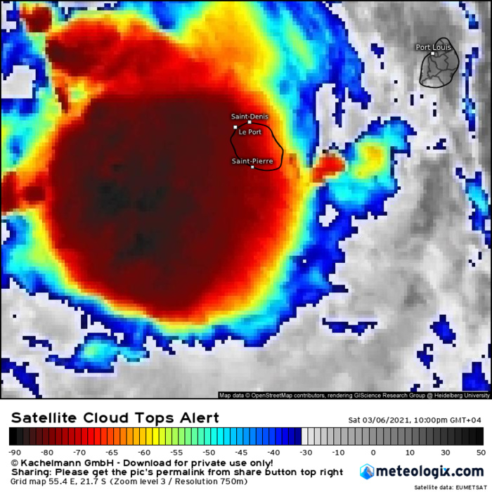 INVEST 91S. 06/18UTC. INTENSE CONVECTION IS BEGINNING TO TRACK PARTLY OVER RÉUNION ISLAND. EUMETSAT.