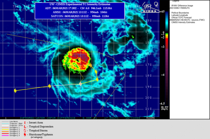 24S(HABANA). WARNING 5 ISSUED AT 06/09UTC PREDICTED THE CYCLONE TO BE DOWN-GRADED TO CATEGORY 3 BY 06/18UTC. BUT THE CYCLONE REMAINS A CATEGORY 4 AT 06/18UTC.