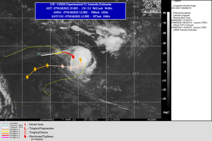 24S(HABANA).WARNING 8 ISSUED AT 07/21UTC.TC 24S HAS WEAKENED STEADILY OVER THE PAST TWELVE HOURS, AND  TEMPORARILY LOST ITS EYE, UNDER THE INFLUENCE OF A SHORT-TERM  INCREASE IN VERTICAL WIND SHEAR AND COOLING OCEAN WATER BENEATH THE  SLOW-MOVING SYSTEM. TC 24S IS TURNING POLEWARD UNDER THE INFLUENCE  OF A SHIFTING STEERING PATTERN, WITH SUBTROPICAL RIDGING BUILDING TO  THE EAST. VERTICAL WIND HAS EASED A BIT OVER THE PAST SIX HOURS (10- 15 KTS), SEA SURFACE TEMPERATURES ARE MODERATELY FAVORABLE (26-28C)  AND STRONG POLEWARD OUTFLOW IS EVIDENT IN SATELLITE-DERIVED, UPPER- LEVEL WIND VECTOR DATA. TC 24S IS EXPECTED TO TURN WESTWARD OVER THE  NEXT 24 TO 36 HOURS AS SUBTROPICAL RIDGING BUILDS TO THE SOUTH AND  TAKES OVER AS THE DOMINANT STEERING MECHANISM. THE SYSTEM WILL  CONTINUE FOLLOWING THE FLOW ASSOCIATED WITH THIS RIDGE, TURNING  POLEWARD BY 120H. FURTHER NEAR-TERM WEAKENING IS EXPECTED BEFORE  PASSAGE OVER WARM WATER, ROBUST OUTFLOW AND LOW VERTICAL WIND SHEAR  DRIVE A DISTINCT INTENSIFICATION TREND WITH POSSIBLE RAPID  INTENSIFICATION AFTER 36H.