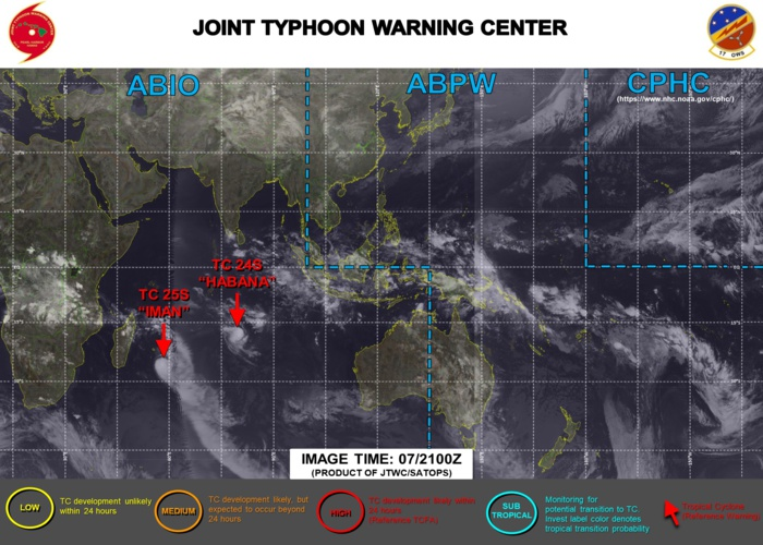 07/21UTC. JTWC IS ISSUING 12HOURLY WARNINGS ON 24S(HABANA) AND 25S(IMAN). 3HOURLY SATELLITE BULLETINS ARE ISSUED FOR BOTH SYSTEMS. THEY WERE DISCONTINUED FOR 23P(NIRAN) AND 22S(MARIAN).