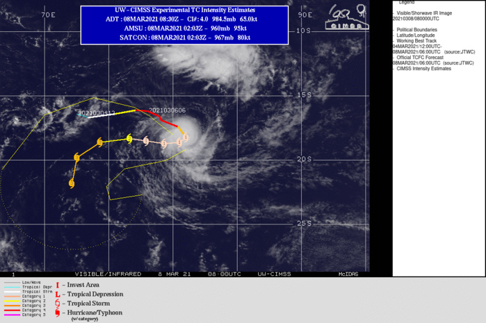 24S(HABANA). WARNING 9 ISSUED AT 08/09UTC. TC 24S IS BEGINNING TO TURN SOUTH-SOUTEASTWARD AS THE SUBTROPICAL RIDGE (STR) BUILDING TO THE SOUTH IS SLOWLY TAKING OVER  AS THE DOMINANT STEERING MECHANISM. BY 12H, THE NEW STR WILL DRIVE  THE SYSTEM WESTWARD. AFTER 72H, THE CYCLONE WILL TURN  SOUTHWESTWARD THEN SOUTHWARD AS IT ROUNDS THE WESTERN EDGE OF THE  STR. FURTHER NEAR-TERM WEAKENING IS EXPECTED BEFORE PASSAGE OVER WARM  WATER, ROBUST OUTFLOW AND LOW VERTICAL WIND SHEAR FUEL ANOTHER  INTENSIFICATION TREND WITH POSSIBLE RAPID INTENSIFICATION AFTER 24H.