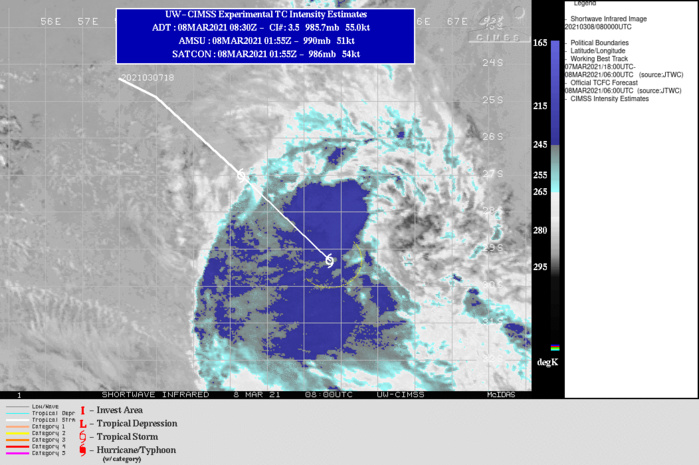 25S(IMAN). WARNING 3 ISSUED AT 08/09UTC.ANALYSIS INDICATES THE SYSTEM HAS DRIFTED INTO COOLER (27C AND DECREASING) SEA SURFACE TEMPERATURES AND  STRONG (40KT+) VERTICAL WIND SHEAR. THE ASCAT PASS ALSO INDICATES THE  LOW LEVEL CIRCULATION HAS BECOME IRREGULAR AND GROSSLY ELONGATED WITH  THE 35KNOT WIND FIELD EXPANDED UP TO 185KM. TC PHASE CLASSIFICATION  WORKSHEET INDICATES THE SYSTEM IS NOW SUBTROPICAL AND WILL REMAIN SO  AS IT CONTINUES TO ACCELERATE POLEWARD. THIS IS THE FINAL WARNING ON  THIS SYSTEM BY THE JOINT TYPHOON WRNCEN PEARL HARBOR HI.