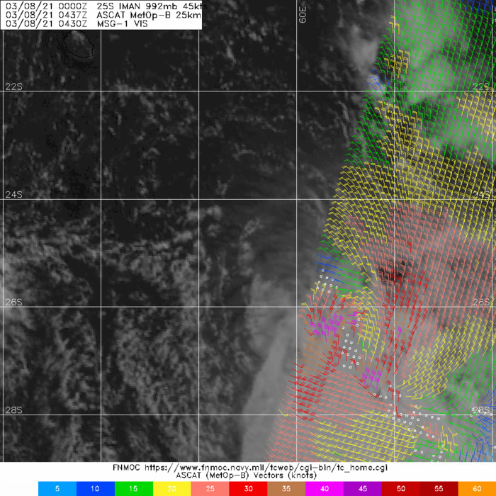 25S(IMAN). THE INITIAL POSITION AND  INTENSITY ARE PLACED WITH HIGH CONFIDENCE BASED ON A 08/0437UTC 25KM  RESOLUTION ASCAT BULLSEYE PASS.