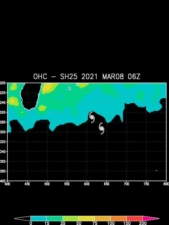 25S(IMAN). THE SUBTROPICAL CYCLONE IS NOW TRACKING OVER COOL WATERS WITH VERY LOW OCEAN HEAT CONTENT.