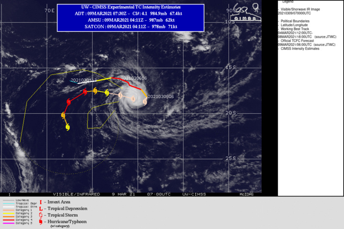 24S(HABANA). WARNING 11 ISSUED AT 09/09UTC.ENVIRONMENTAL CONDITIONS REMAIN FAVORABLE WITH LOW VERTICAL WIND SHEAR AND ROBUST, IMPROVED EQUATORWARD  OUTFLOW. TC 24S IS TRACKING WESTWARD ALONG THE NORTHERN PERIPHERY OF  A SUBTROPICAL RIDGE (STR) POSITIONED TO THE SOUTH AND IS FORECAST TO  CONTINUE TRACKING WESTWARD THROUGH 48H UNTIL THE STR WEAKENS AND  SHIFTS EAST IN RESPONSE TO AN APPROACHING SHORTWAVE TROUGH. THIS  WILL RESULT IN A SOUTHWESTWARD TURN THROUGH 72H. AFTER 72H, TC  HABANA WILL SLOW SIGNIFICANTLY AND DRIFT SOUTHWARD DUE TO COMPETING  STEERING INFLUENCES, NAMELY THE STR TO THE EAST AND A BUILDING STR  TO THE WEST. AN ADDITIONAL IMPEDIMENT THAT WILL LIMIT POLEWARD TRACK  MOTION IS A BUILDING LOW-LEVEL HIGH TO THE SOUTH. THERE IS UNCERTAINTY IN THE  INTENSITY FORECAST WITH HIGH POTENTIAL FOR RAPID INTENSIFICATION  OVER THE NEXT 12 TO 48 HOURS AS INDICATED BY HWRF, COAMPS-TC AND THE  COAMPS-TC ENSEMBLE. ADDITIONALLY, THE MOST RECENT ENHANCED INFRA-RED IMAGERY YIELDS  AN UNOFFICIAL DVORAK ESTIMATE OF T5.0 (90 KNOTS) AS THE SMALL EYE  EMERGES. THIS DATA WAS INCORPORATED INTO THE INTENSITY FORECAST  THROUGH 48H, WHICH REFLECTS A SHARPER INCREASE TO THE PEAK  INTENSITY OF 115 KNOTS/US CATEGORY 4 BY 48H. OVERALL, ENVIRONMENTAL CONDITIONS  SHOULD REMAIN FAVORABLE THROUGH 72H WITH GRADUAL WEAKENING AFTER  72H AS MID-LEVEL VERTICAL WIND SHEAR INCREASES TO MODERATE LEVELS AND SST VALUES  COOL SLIGHTLY TO 27C.