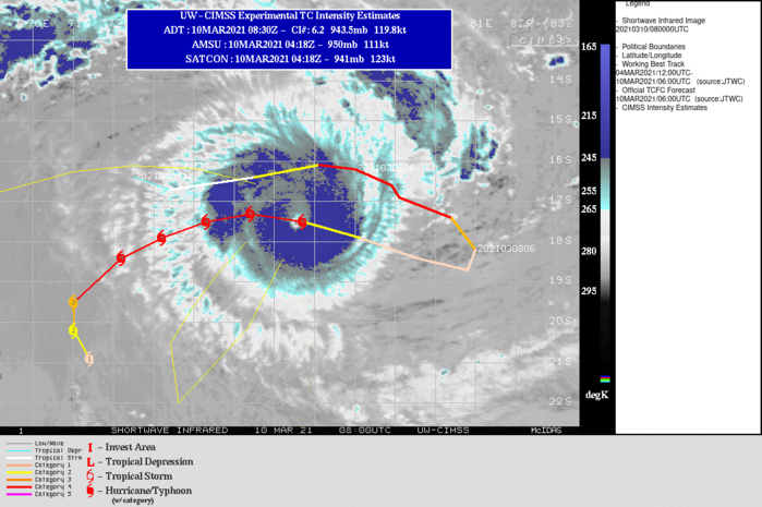 24S(HABANA). WARNING 13 ISSUED AT 10/09UTC.ENVIRONMENTAL CONDITIONS REMAIN FAVORABLE WITH LOW VERTICAL WIND SHEAR, ROBUST EQUATORWARD  OUTFLOW AND WARM (28-29C) SST VALUES. TC 24S IS TRACKING WEST- NORTHWESTWARD ALONG THE NORTHERN PERIPHERY OF A SUBTROPICAL RIDGE  (STR) POSITIONED TO THE SOUTH AND IS FORECAST TO CONTINUE TRACKING  GENERALLY WESTWARD THROUGH 24H UNTIL THE STR WEAKENS AND SHIFTS  EAST IN RESPONSE TO AN APPROACHING SHORTWAVE TROUGH. THIS WILL  RESULT IN A WEST-SOUTHWESTWARD TO SOUTHWESTWARD TURN THROUGH 72H.  AFTER 72H, TC HABANA WILL SLOW SIGNIFICANTLY AND DRIFT SOUTHWARD  AS A BROAD STR BUILDS TO THE SOUTH, WHICH WILL LIMIT POLEWARD TRACK  MOTION.OVERALL, ENVIRONMENTAL CONDITIONS SHOULD REMAIN FAVORABLE THROUGH 60H WITH GRADUAL WEAKENING AFTER  60H AS MID-LEVEL VWS INCREASES TO MODERATE LEVELS AND SST VALUES COOL SLIGHTLY TO 27C.