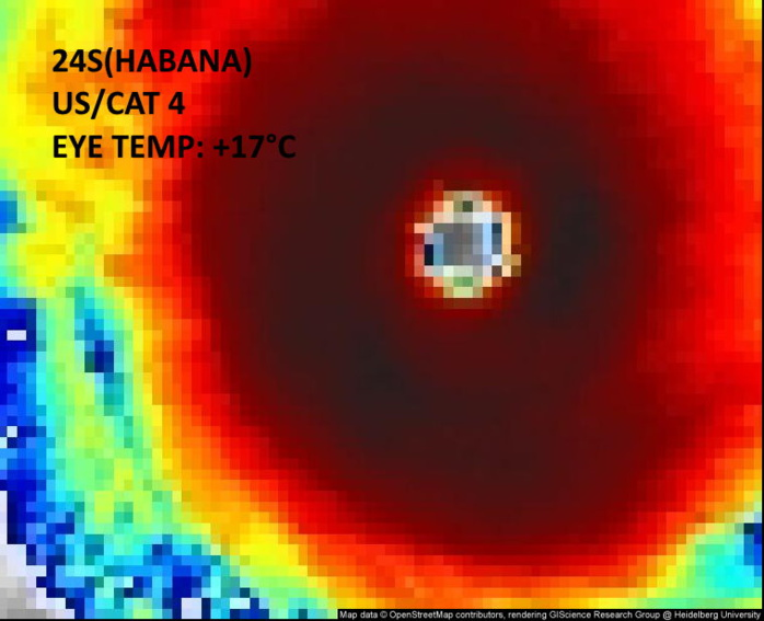 24S(HABANA). 10/0930UTC.MET-8 IS READING AN EYE TEMP OF +17°C AT 0915/0930UTC. AT 0830UTC THE SATELLITE INTENSITY ESTIMATE FROM JTWC WAS T7.0/7.0/D2.5/24HRS  STT: D1.0/03HRS