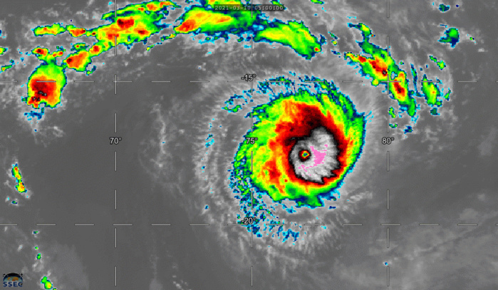 24S(HABANA). 10/23UTC. 18H ANIMATION. UP-DATED JTWC ANALYSIS INDICATE THAT SUPER CYCLONE 24S(HABANA) REACHED A PEAK INTENSITY OF 135KNOTS/CATEGORY 4 AT 10/12UTC. THE EYE-WALL REPLACEMENT CYCLE HAS RESULTED IN A SLIGHT WEAKENING SINCE. CLICK ON THE IMAGERY TO ANIMATE IF NEEDED.