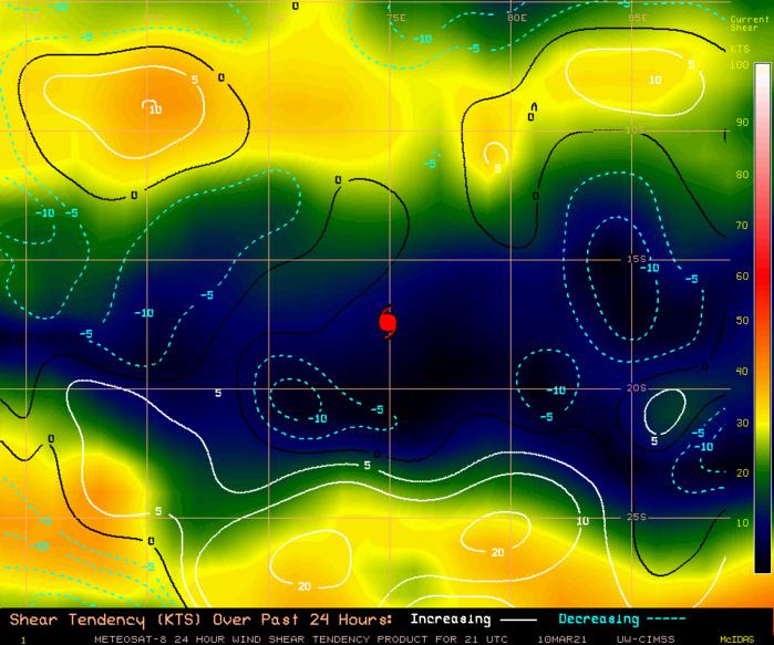 24S(HABANA). 10/21UTC. CIMSS Vertical Shear Magnitude : 4.9 m/s ( 9.6 kts) Direction : 84.8 deg Experimental Vertical Shear and TC Intensity Trend Estimates: NEUTRAL OVER 24H
