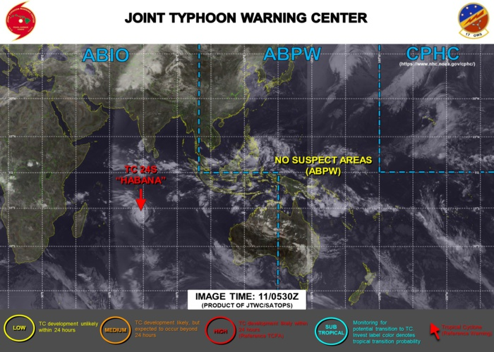 11/09UTC. JTWC HAS BEEN ISSUING 12HOURLY WARNINGS ON 24S(HABANA) ALONG WITH 3HOURLY SATELLITE BULLETINS.