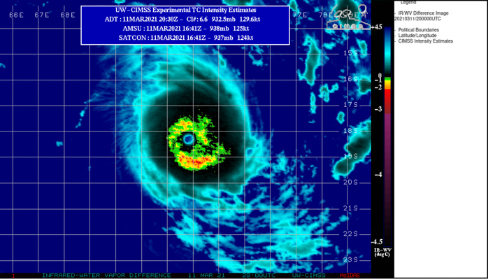 24S(HABANA). ENHANCED INFRARED IMAGERY INDICATES A WELL-DEFINED, CLEAR EYE  SURROUNDED BY A CENTRAL DENSE OVERCAST THAT HAS BEEN PERIODICALLY  BROKEN IN THE WESTERN SEMICIRCLE, POSSIBLY DUE TO DRY ENTRAINMENT AS  UPPER-LEVEL WINDS BEGIN TO BECOME WESTERLY.