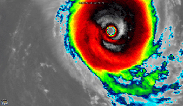 24S(HABANA). 12/09UTC. 15H ANIMATION. ANIMATED ENHANCED INFRARED SATELLITE IMAGERY SHOWS THE SYSTEM HAS  MAINTAINED A COMPACT AND HIGHLY SYMMETRICAL STRUCTURE AND A 45-KM  RAGGED BUT WELL-DEFINED EYE. RMSC/LA RÉUNION POINTS OUT THAT SMAP AT 12/0111UTC READ MAXIMUM SUSTAINED WINDS WELL ABOVE 125KNOTS. SATCON AT 11/2019UTC YIELDED A 135KNOT ESTIMATE. MICROWAVE SIGNATURES-SEE DOWN BELOW- AT 11/2314UTC, 11/2317UTC, AND 12/0134UTC WERE VERY IMPRESSIVE.