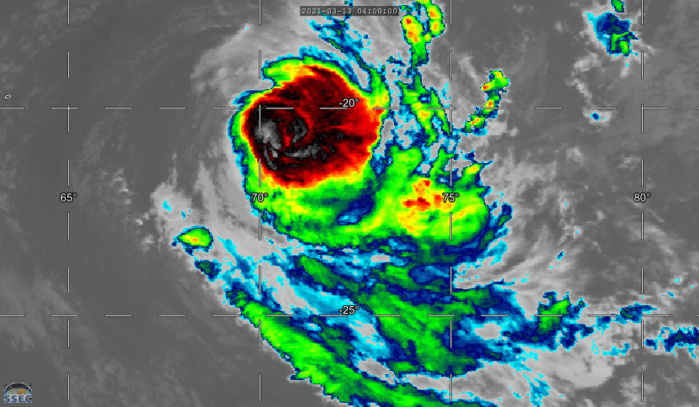 24S(HABANA). 13/13UTC. 9H ANIMATION. ANIMATED ENHANCED INFRARED IMAGERY SHOWS A MUCH WEAKENED CYCLONE FROM 24H AGO( DOWN FROM 115KNOTS TO 80KNOTS). DRY AIR APPEARS TO BE IMPINGING ON THE WESTERN QUADRANT OF THE CIRCULATION.