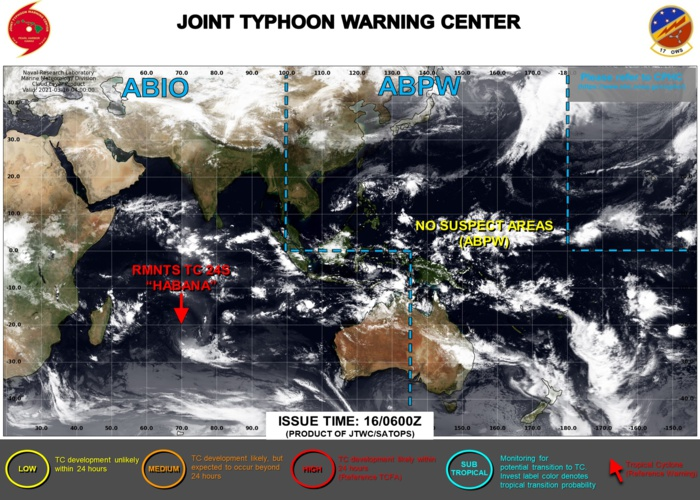 16/09UTC. JTWC IS ISSUING 3HOURLY SATELLITE BULLETINS ON 24S(HABANA). FINAL 12HOURLY WARNING WAS ISSUED AT 15/21UTC.
