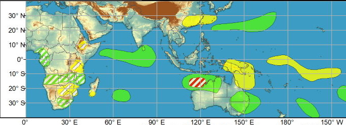WEEK1: No tropical cyclones (TCs) formed during the last week. Since forming on 4 March, Subtropical Storm Habana remains over the southern Indian Ocean and the Joint Typhoon Warning Center (JTWC) forecasts Habana to eventually dissipate to the east of Mauritius by the start of week-1. In the southeastern Indian Ocean, there is agreement among the GEFS and ECMWF ensembles featuring an area of deepening low pressure off the Kimberley Coast of Australia by the upcoming weekend. Probabilistic TC tools continue to show some support for tropical cyclogenesis in the region, and a moderate confidence region is issued for week-1. Farther east across the South Pacific, there is model support for an area of deepening low pressure over French Polynesia during week-1; however, TC formation does not appear likely given the infrequency of TCs in the region and with the suppressed phase of the MJO anticipated to be over this part of the basin.