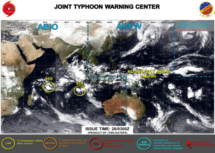 26/06UTC.BOTH AREAS ARE ASSESSED AS HAVING LOW CHANCES OF REACHING 35KNOTS WITHIN 24HOURS. JTWC HAS BEEN ISSUING 3HOURLY SATELLITE BULLETINS ON INVEST 95S.
