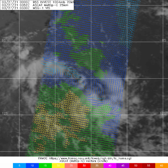 INVEST 95S. 27/0352UTC. ASCAT-C DEPICTED AN ELONGATED AND WEAK CIRCULATION.