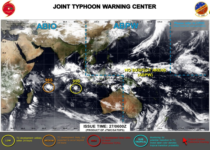 27/06UTC. INVEST 98S IS ASSESSED AS HAVING MEDIUM CHANCES OF REACHING 35KNOTS WITHIN THE NEXT 24HOURS. INVEST 95S REMAINS LOW. JTWC IS ISSUING 3HOURLY SATELLITE BULLETINS ON BOTH SYSTEMS.