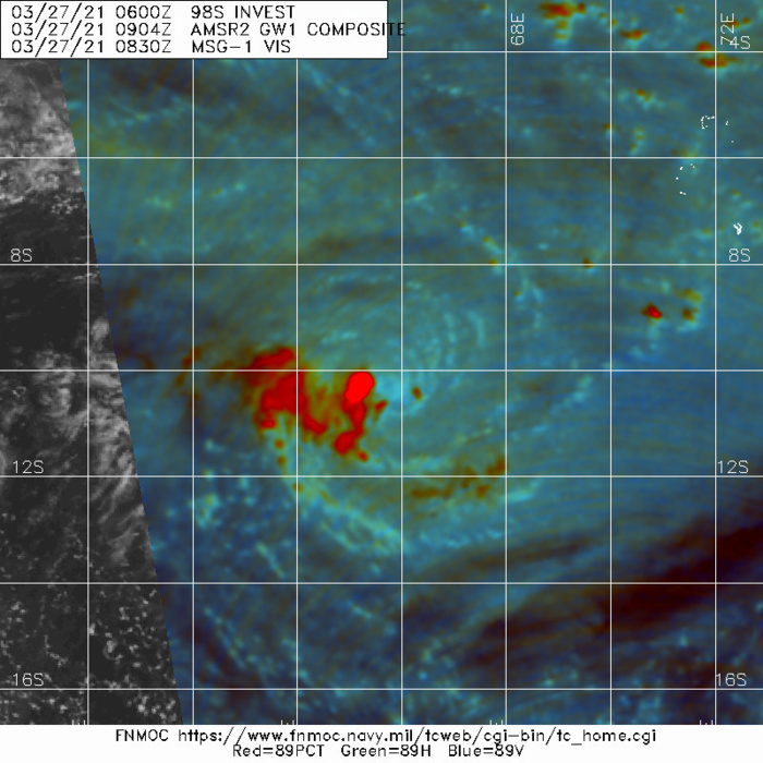 INVEST 98S. 27/0904UTC. MICROWAVE DEPICTS VERY WELL THE CIRCULATION WITH THE EXPOSED CENTER TO THE EAST OF DEEP CONVECTION.